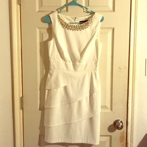 White midi dress with pearls. Only worn once!